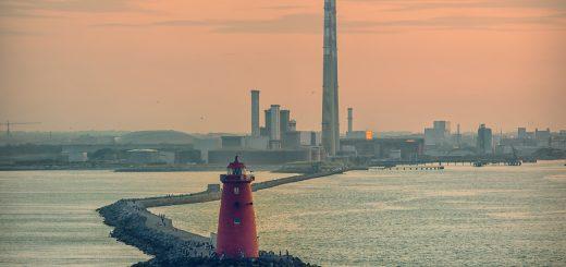 Poolbeg Lighthouse Towers Ringsend Dublin Ireland