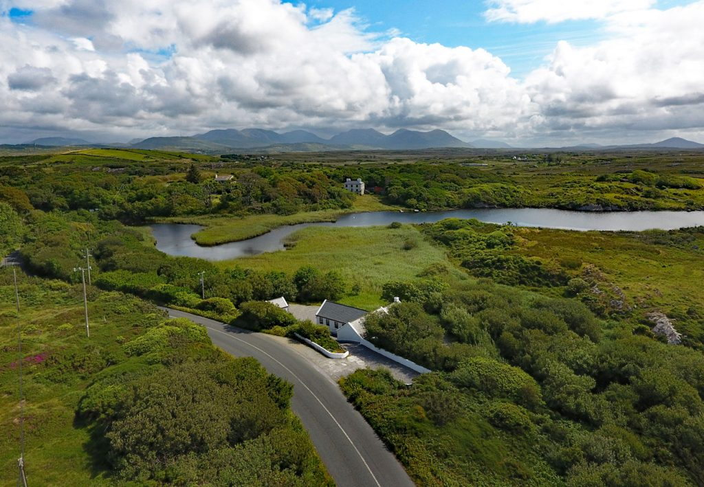 Aerial view of Ballinabay Holiday Cottage in Galway